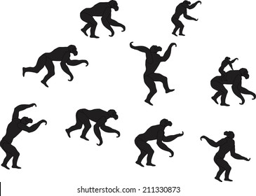 Monkey silhouettes in various poses