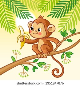Monkey sits on a tree and eats a banana. Cute animal in cartoon style. Vector illustration.