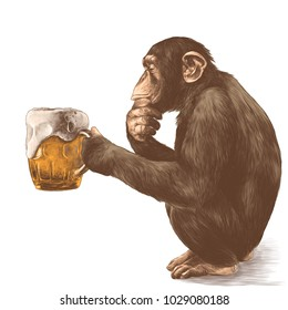 monkey sitting on his haunches with a thoughtful look and holding in its paws a glass of beer, sketch vector graphics color picture