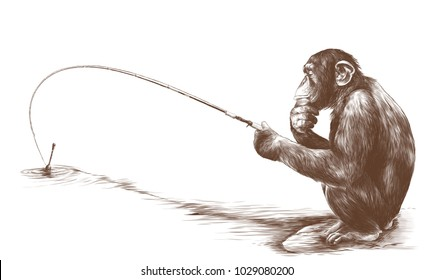 monkey sitting on his haunches with a fishing rod and catches a fish sketch vector graphics monochrome drawing