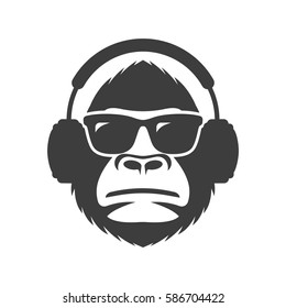 Monkey in sunglasses and headphones mascot