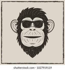Monkey in sunglasses vector sketch grunge illustration. Vintage fashionable t-shirt printing design.