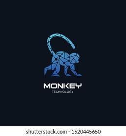 Monkey Tech Logo Design Template. Modern abstract logo design . Animal Tech Logo Design.