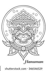 monkey thai outline illustrator