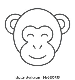 Monkey thin line icon, zoo and africa, animal sign, vector graphics, a linear pattern on a white background, eps 10.
