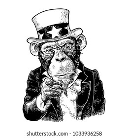 Monkey Uncle Sam with pointing finger at viewer, from front. I Want You. Vintage black engraving illustration for recruiting poster. Isolated on white background. Hand drawn design element