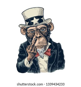 Monkey Uncle Sam with raised middle finger. Sign Fuck you. Vintage color engraving illustration for recruiting poster. Isolated on white background. Hand drawn design element