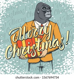 Monkey vector Christmas concept. Illustration of African gorilla in human suit with lettering merry Christmas