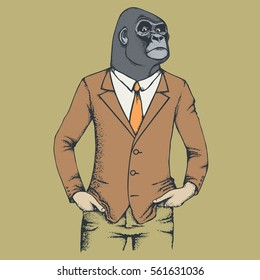 Monkey vector concept. Illustration of African gorilla in human suit
