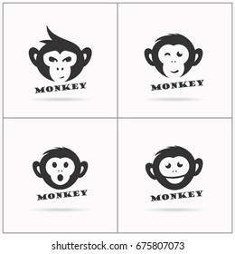 Monkey vector design icon. Monkey head logos.