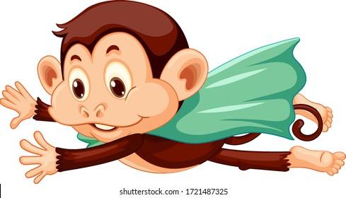 Monkey wearing cape flying on white background illustration