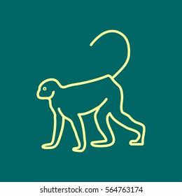 Monkey web line icon.