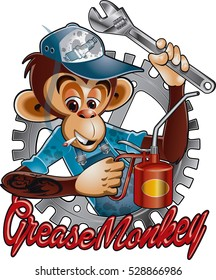 monkey with wrench,oil can, and text grease monkey