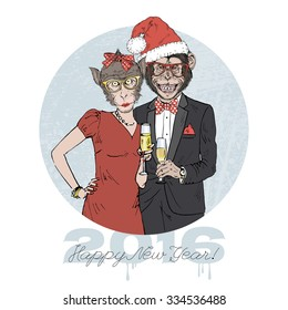 monkeys couple dressed up in party style with champagne, Merry Christmas and Happy New Year design