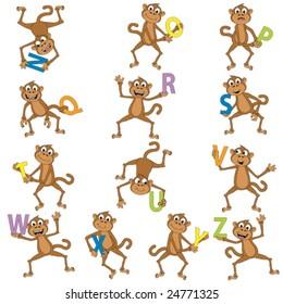 Monkeys holding the alphabet.