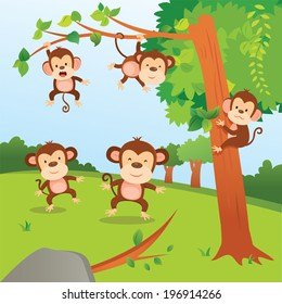 Monkeys in the jungle. A group of monkeys playing in the jungle.