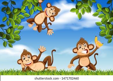 Monkeys in jungle scene illustration