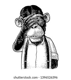 Monkeys with palm on eyes. Vintage black engraving illustration for poster, web, t-shirt, tattoo. Isolated on white background