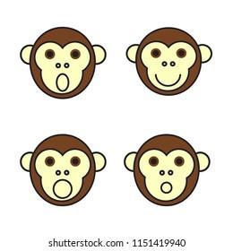 Monkeys - set of emotions. Vector illustration.