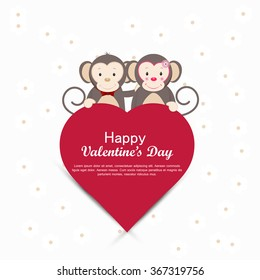 Monkeys wishing valentines day, Vector heart shape message box design with monkeys for valentines day.