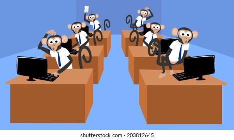Monkeys working in the office