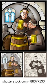 Monks drinks beer. Pictures are stylized by stained-glass window, illustration and engraving.