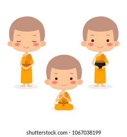 Monks And Novice In Buddhism, Vector Illustration