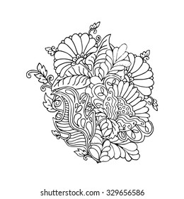 Mono color black line art element for adult coloring book page design.Floral collection.