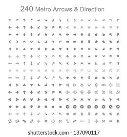 Mono color Metro arrows and direction vector illustration