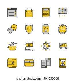 Mono color set of online pay related vector icons