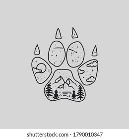mono line art vector of wolf paw print. wolf paw print illustration.