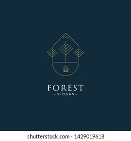 mono line forest, mountain and wave logo icon vector