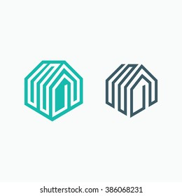 Mono line house logo, icon. Two isolated monochromatic vector symbols.
