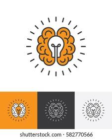 Mono line icon with brain and light bulb. Creative idea, mind, thinking logo concept