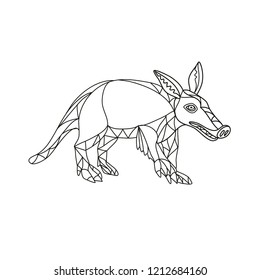 Mono line illustration of an aardvark, a medium-sized, burrowing, nocturnal mammal that is an insectivore with a long pig-like snout done in black and white monoline style.