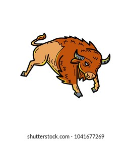 Mono line illustration of an American bison, American buffalo or simply buffalo, a North American species of bison, jumping or bucking done in monoline style.
