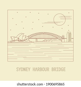 Mono line illustration of Sydney Harbour Bridge in Australia
