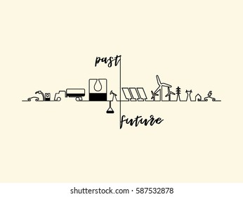 mono line illustration vector of home electricity renewable energy power system, future energy source concept