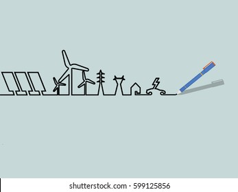 mono line illustration vector of renewable energy power system, renewable energy design concept