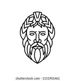 Mono line illustration of Zeus, the sky and thunder god in ancient Greek religion, who rules as king of the gods of Mount Olympus, his Roman equivalent is Jupiter, viewed from front in monoline style.