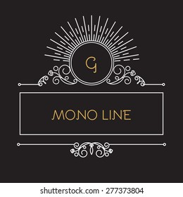 Mono line monogram &  logo template. Elegant frame. Vector illustration