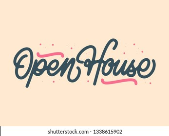 Mono Line Open House Calligraphy with Splash and Yellow Background
