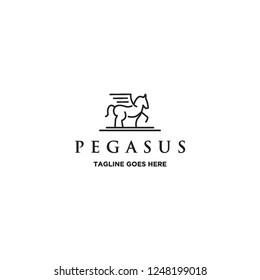 mono line pegasus horse logo icon vector inspiration