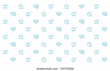 Mono line Shopping Element Icon Pattern Background for Web Banner, Landing Page, Wallpaper