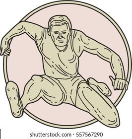 Mono line style illustration of a track and field athlete hurdle set inside circle on isolated background viewed from front.