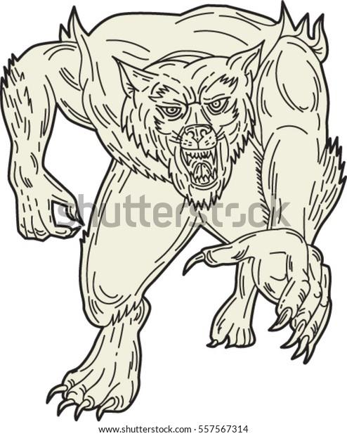 Mono Line Style Illustration Werewolf Monster Stock Vector ...