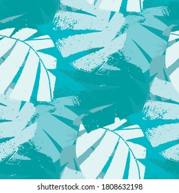 Mono print style aqua blue tropical leaves seamless vector pattern background. Textural backdrop with overlapping layered cut out foliage. Painterly botanical design. Monochrome all over print