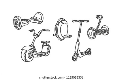 Mono wheel isolated roller scooter. Different scooters eco alternative city transport. Design biking and rolling wheels. Push cycle gyroscooter.  Vector illustration sketch icons.