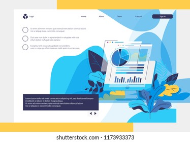 Monoblock with open browser Windows with charts and diagrams. The vegetation in the background. The main landing page of the website