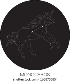 Monoceros Contellation Vector in Black Background